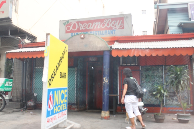 The facade of Dreamboyz, a decades-old seedy macho dancer bar on Aurora Boulevard in Barangay Kaunlaran in Quezon City