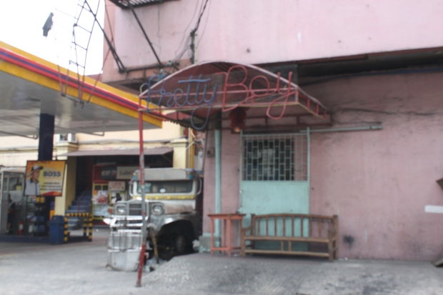 Pretty Boy, another macho dancer bar in Cubao, Quezon City, is at 920 Aurora Boulevard.  The building housing it is beside Flying V Gas Station and in front of China Bank Miami Street-Aurora Boulevard branch.