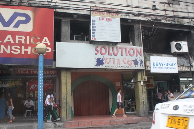 Solution Disco on Libertad Street in Pasay.  At night, portions of Libertad Street appear dimly-lit and scary.